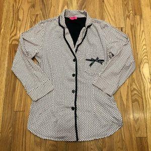 Betsey Johnson pink black polka dot sleeve pajama